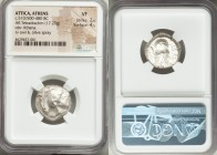 ATTICA. Athens. Ca. 510/500-480 BC. AR tetradrachm (20mm, 17.20 gm, 6h). NGC VF 2/5 - 4/5. Head of Athena right, wearing crested Attic helmet, the cre...