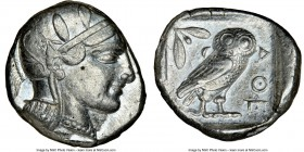 ATTICA. Athens. Ca. 455-440 BC. AR tetradrachm (24mm, 17.19 gm, 11h). NGC XF 4/5 - 4/5. Early transitional issue. Head of Athena right, wearing creste...