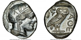 ATTICA. Athens. Ca. 440-404 BC. AR tetradrachm (25mm, 17.19 gm, 11h). NGC MS 3/5 - 4/5. Mid-mass coinage issue. Head of Athena right, wearing crested ...