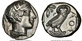 ATTICA. Athens. Ca. 440-404 BC. AR tetradrachm (23mm, 17.17 gm, 8h). NGC Choice AU 4/5 - 3/5, light graffiti. Mid-mass coinage issue. Head of Athena r...