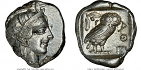 ATTICA. Athens. Ca. 440-404 BC. AR tetradrachm (26mm, 17.20 gm, 1h). NGC AU 4/5 - 5/5. Mid-mass coinage issue. Head of Athena right, wearing crested A...
