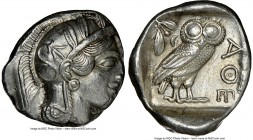 ATTICA. Athens. Ca. 440-404 BC. AR tetradrachm (27mm, 17.19 gm, 11h). NGC AU 3/5 - 4/5. Mid-mass coinage issue. Head of Athena right, wearing crested ...