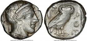 ATTICA. Athens. Ca. 440-404 BC. AR tetradrachm (23mm, 17.22 gm, 7h). NGC AU 3/5 - 4/5. Mid-mass coinage issue. Head of Athena right, wearing crested A...
