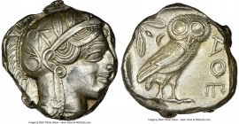 ATTICA. Athens. Ca. 440-404 BC. AR tetradrachm (29mm, 17.21 gm, 11h). NGC AU 3/5 - 4/5. Mid-mass coinage issue. Head of Athena right, wearing crested ...