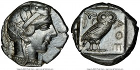 ATTICA. Athens. Ca. 440-404 BC. AR tetradrachm (25mm, 17.23 gm, 7h). NGC Choice XF 5/5 - 4/5. Mid-mass coinage issue. Head of Athena right, wearing cr...