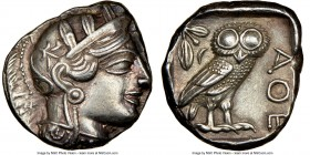 ATTICA. Athens. Ca. 440-404 BC. AR tetradrachm (24mm, 17.19 gm, 10h). NGC Choice XF 4/5 - 5/5. Mid-mass coinage issue. Head of Athena right, wearing c...
