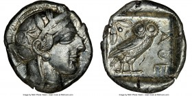 ATTICA. Athens. Ca. 440-404 BC. AR tetradrachm (26mm, 17.18 gm, 1h). NGC Choice XF 4/5 - 4/5. Mid-mass coinage issue. Head of Athena right, wearing cr...
