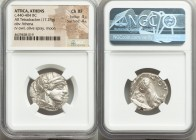 ATTICA. Athens. Ca. 440-404 BC. AR tetradrachm (23mm, 17.23 gm, 10h). NGC Choice XF 4/5 - 4/5. Mid-mass coinage issue. Head of Athena right, wearing c...