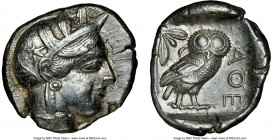 ATTICA. Athens. Ca. 440-404 BC. AR tetradrachm (25mm, 17.16 gm, 5h). NGC Choice XF 4/5 - 3/5. Mid-mass coinage issue. Head of Athena right, wearing cr...