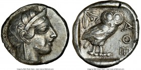 ATTICA. Athens. Ca. 440-404 BC. AR tetradrachm (25mm, 17.16 gm, 1h). NGC XF 5/5 - 4/5. Mid-mass coinage issue. Head of Athena right, wearing crested A...
