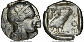 ATTICA. Athens. Ca. 440-404 BC. AR tetradrachm (25mm, 17.13 gm, 3h). NGC VF 3/5 - 4/5. Mid-mass coinage issue. Head of Athena right, wearing crested A...