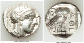 ATTICA. Athens. Ca. 440-404 BC. AR tetradrachm (23mm, 17.16 gm, 9h). AU. Mid-mass coinage issue. Head of Athena right, wearing crested Attic helmet or...