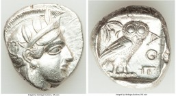 ATTICA. Athens. Ca. 440-404 BC. AR tetradrachm (25mm, 17.19 gm, 1h). AU. Mid-mass coinage issue. Head of Athena right, wearing crested Attic helmet or...