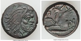 CIMMERIAN BOSPORUS. Panticapaeum. Ca. 4th century BC. AE (21mm, 7.86 gm, 1h). XF. Head of bearded Pan right / Π-A-N, forepart of griffin left, sturgeo...