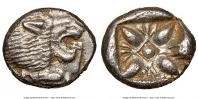 IONIA. Miletus. Ca. late 6th-5th centuries BC. AR 1/12 stater or obol (10mm). NGC AU. Milesian standard. Forepart of roaring lion left, head reverted ...