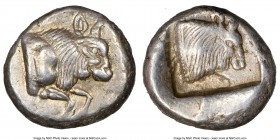 CARIA. Uncertain mint. Ca. 450-400 BC. AR diobol (13mm, 11h). NGC Choice XF. Milesian standard. Forepart of bull right / Head of bull right; within in...