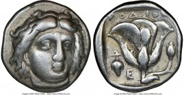 CARIAN ISLANDS. Rhodes. Ca. 340-305 BC. AR didrachm (19mm, 11h). NGC Choice Fine. Ca. 340-320 BC. Head of Helios facing, turned slightly right, hair p...