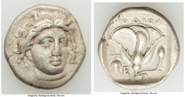 CARIAN ISLANDS. Rhodes. Ca. 340-305 BC. AR didrachm (19mm, 6.64 gm, 12h). About VF. Ca. 340-320 BC. Head of Helios facing, turned slightly right, hair...
