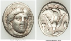 CARIAN ISLANDS. Rhodes. Ca. 340-305 BC. AR didrachm (17mm, 6.59 gm, 1h). About VF. Ca. 340-320 BC. Head of Helios facing, turned slightly right, hair ...