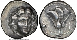CARIAN ISLANDS. Rhodes. Ca. 305-275 BC. AR didrachm. NGC VF. Head of Helios facing slightly to right / ΡΟΔΙΟΝ, name above rose, bud to right; thyrsus ...