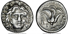 CARIAN ISLANDS. Rhodes. Ca. 250-205 BC. AR didrachm (19mm, 1h). NGC VF. Ca. 250-230 BC, Mnasimaxus, magistrate. Radiate head of Helios facing, turned ...