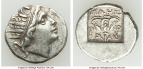 CARIAN ISLANDS. Rhodes. Ca. early 1st century BC. AR drachm (15mm, 2.62 gm, 11h). VF. 'Plinthophoric coinage', ca. 88-84 BC, Maes, magistrate. Radiate...