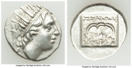 CARIAN ISLANDS. Rhodes. Ca. early 1st century BC. AR drachm (14mm, 2.07 gm, 12h). XF. 'Plinthophoric' coinage, 88-84 BC, Zenon, magistrate. Radiate he...