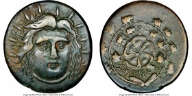 CARIAN ISLANDS. Rhodes. Ca. 1st century AD. AE (36mm, 24.84 gm, 12h). NGC Choice VF S 5/5 - 4/5. Sphairos, magistrate. Radiate head of Helios facing, ...