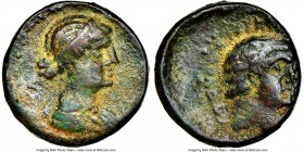 PTOLEMAIC EGYPT. Cleopatra VII and Marc Antony, rulers of the East (37-31 BC). AE (19mm, 8.09 gm, 12h). NGC VF 3/5-4/5. Syria, Chalcis ad Libanum. 32/...
