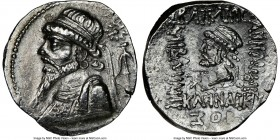 ELYMAIS KINGDOM. Kamnaskires V (ca. 54-32 BC). AR tetradrachm (27mm, 11.82 gm, 12h). NGC Choice AU 4/5 - 3/5, die shift. Seleucia ad Hedyphon, dated S...