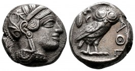 Attica, Attica, Athens AR Tetradrachm. Circa 353-294 BC. AR Helmeted head of Athena r., with profile eye / Owl standing r., head facing; olive sprig a...