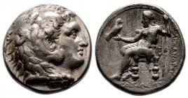 Kingdom of Macedon, Alexander III 'the Great' AR Tetradrachm. 327-323 BC. Head of Herakles right, wearing lion skin headdress / Zeus Aëtophoros seated...