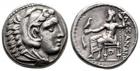 Kingdom of Macedon, Alexander III 'the Great' AR Tetradrachm, 327-323 BC. Lifetime issue, struck under Balakros. Head of Herakles right, wearing lion ...