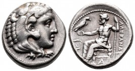 Kingdom of Macedon, Alexander III 'the Great' AR Tetradrachm. Tarsos, 327-323 BC. Lifetime issue, struck under Balakros. Head of Herakles right, weari...