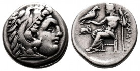 Kingdom of Macedon. Alexander III AR Drachm. Miletos, circa 295/4 BC. Head of Herakles r., wearing lion skin / Zeus Aëtophoros seated l.  Condition: V...