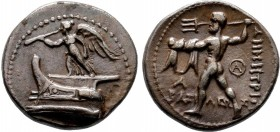 KINGS of MACEDON. Demetrios I Poliorketes. 306-283 BC. AR Drachm. Tarsos mint. Struck circa 298-295 BC. Nike alighting atop prow of galley left, blowi...