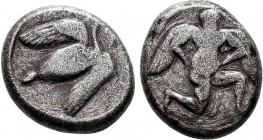 Mallos , Cilicia. AR Stater, circa 390-385 BC. Obv. Winged male figure advancing right, holding solar disk with both hands. Rev. MA, Swan standing rig...
