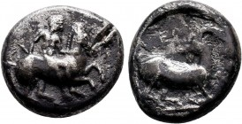 Kelenderis , Cilicia. AR Stater, c. 350-330 BC. Obv. Nude youth, holding whip in right hand, dismounting from horse rearing right. Rev. Goat kneeling ...