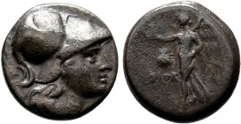 Pamphylia, Side AR Drachm. Circa 205-100 BC. Head of Athena right, wearing crested Corinthian helmet / Nike advancing left, holding wreath; pomegranat...