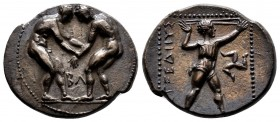 Pamphylia, Aspendos AR Stater.Pamphylia, Aspendos AR Stater. Circa 380-325 BC. Two wrestlers grappling; MA between / Slinger standing right; triskeles...