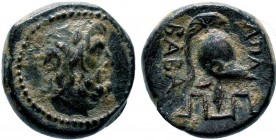 PHRYGIA. Apameia. Ae (133-48 BC).  Obv: Laureate head of Zeus right. Rev: ΑΠΑ… BABA Crested helmet right; maeander pattern below. Cf. BMC 95 (magistra...