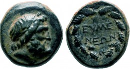PHRYGIA. Eumeneia. Ae (Circa 200-133 BC). Obv: Laureate head of Zeus right. Rev: EYME / NEΩN. Legend in two lines within wreath. SNG Copenhagen 377-8....