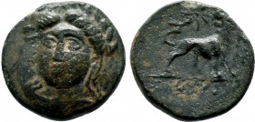 IONIA. Miletos. Ae (Circa 260-220 BC). Basileides, magistrate. Obv: Laureate and draped bust of Apollo facing slightly left. Rev: BAΣIΛEIΔHΣ. Lion sta...