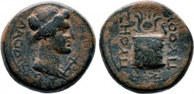 PHRYGIA. Laodicea ad Lycum. Pseudo-autonomous. Time of Tiberius (14-37). Ae. Pythes Pythou, magistrate. Obv: ΛAOΔIKEΩN. Laureate head of Apollo right;...