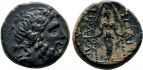 PHRYGIA. Apameia . Circa 133-48 BC. Æ Laureate head of Zeus right / APAME, cult statue of Artemis Anaïtis facing; magistrates MANTIO and ÐIOÐO. SNG Co...