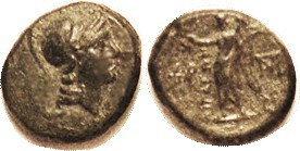 AIGAI (Aiolis), Æ16, 2nd-1st cent BC, Athena hd r/Nike stg l, 2 monograms, S4169; VF, nrly centered, nice green patina. (A GVF brought $95, CNG eAuc 4...