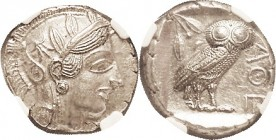 ATHENS, Tet, 449-413 BC, Athena head r/owl stg r, S2526; In NGC slab as CH AU, strike 5/5, surface 2/5. The latter seems harsh, as it has just a littl...