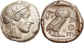 Another, Virtually Mint State and choice, well centered & sharply struck, good fresh metal with luster. Athena's hair waves are razor sharp. The owl y...