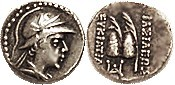 Eukratides I, 171-135 BC, Obol, Helmeted head r/caps of the Dioscuri with palm branches, S7578; Choice VF, nrly centered, quite good metal with contra...