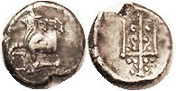 BYZANTION, Hemidrachm, 387-340 BC, Bull on dolphin l./trident; VF, a little off-ctr on ragged unround flan, decent metal with tone. (A VF, similar cen...